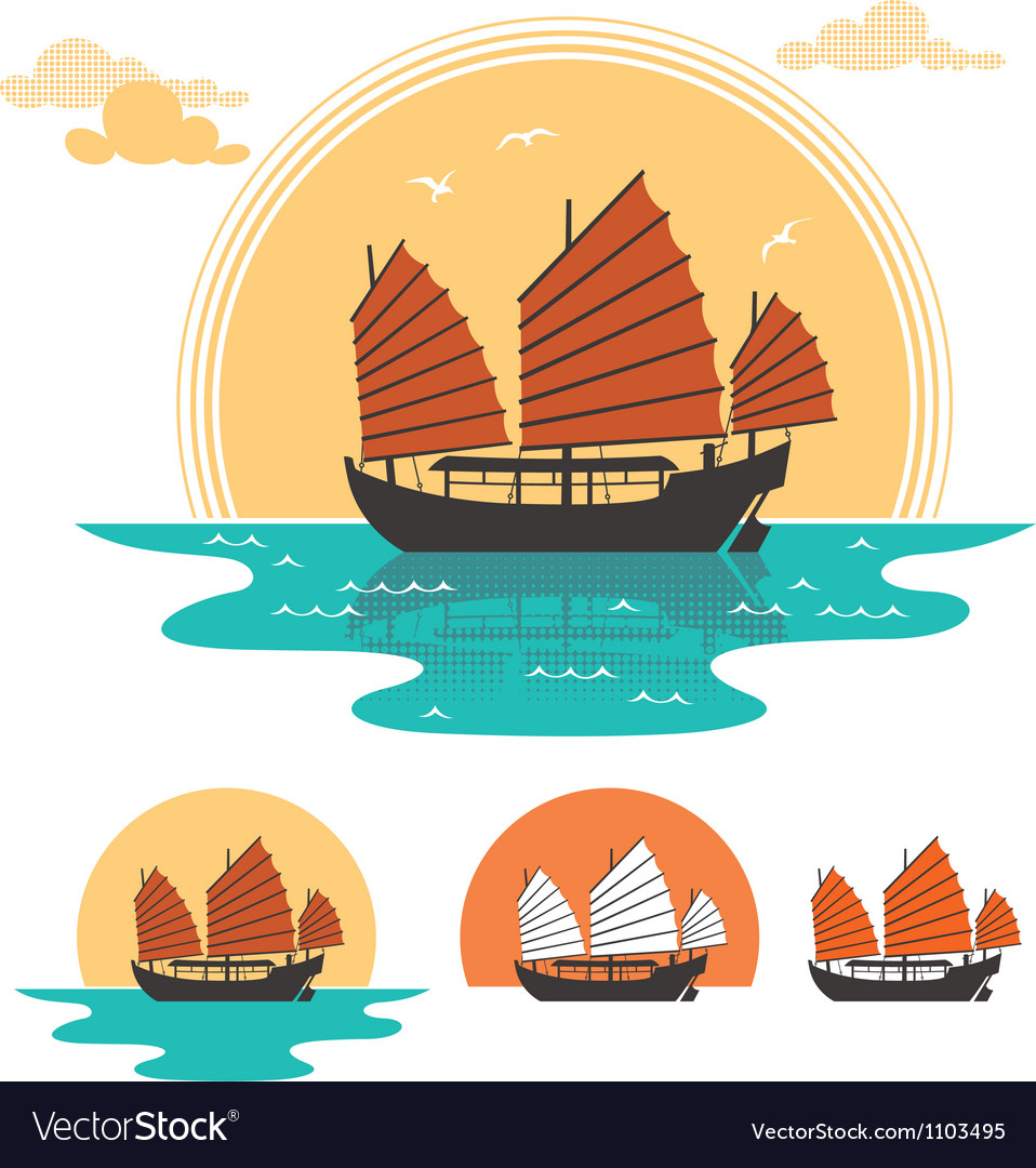 Junk boat vector | Price: 1 Credit (USD $1)