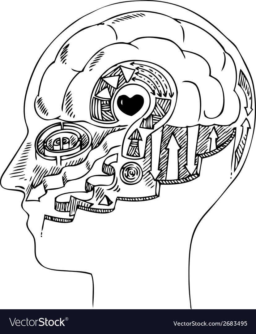 Man profile with brain and heart vector | Price: 1 Credit (USD $1)
