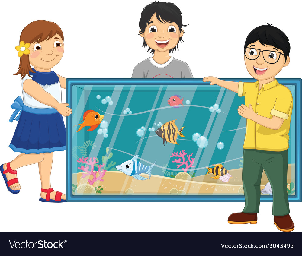 Of kids watching fishes in an vector | Price: 1 Credit (USD $1)