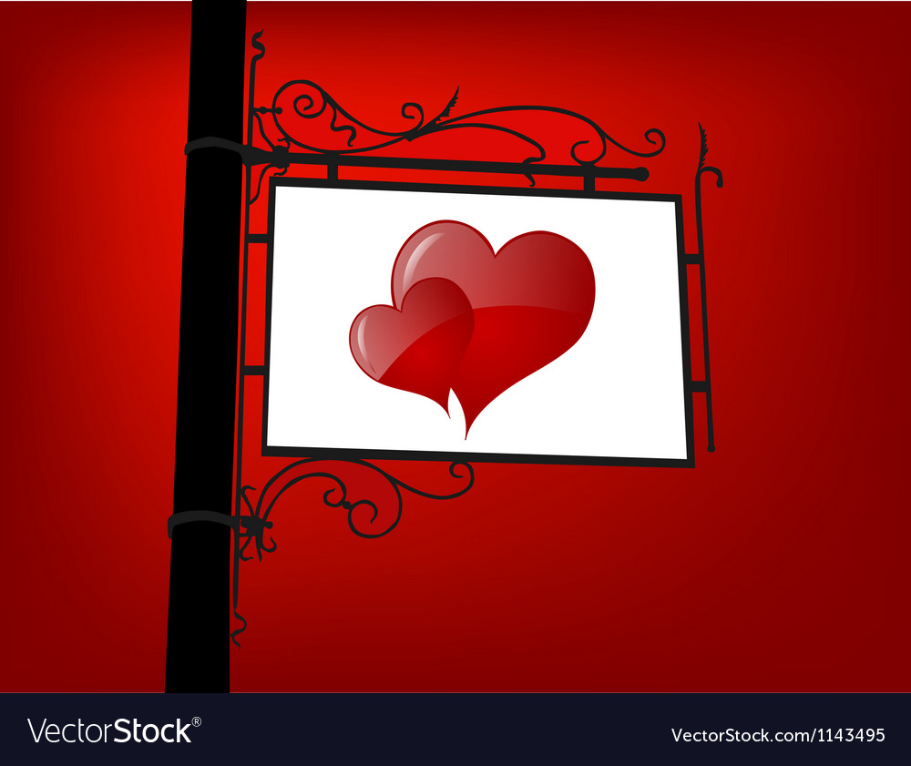 Retro love signboard vector | Price: 1 Credit (USD $1)
