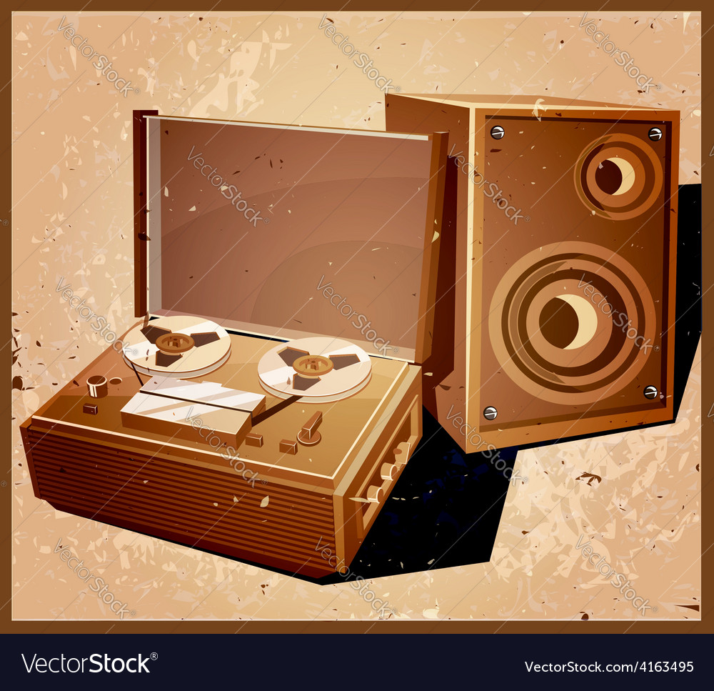 Retro reel tape recorder vector | Price: 3 Credit (USD $3)