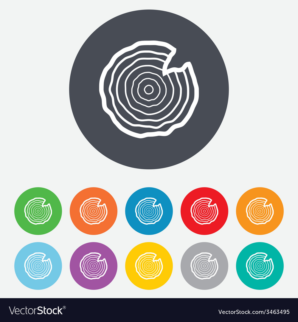 Wood sign icon tree growth rings vector | Price: 1 Credit (USD $1)