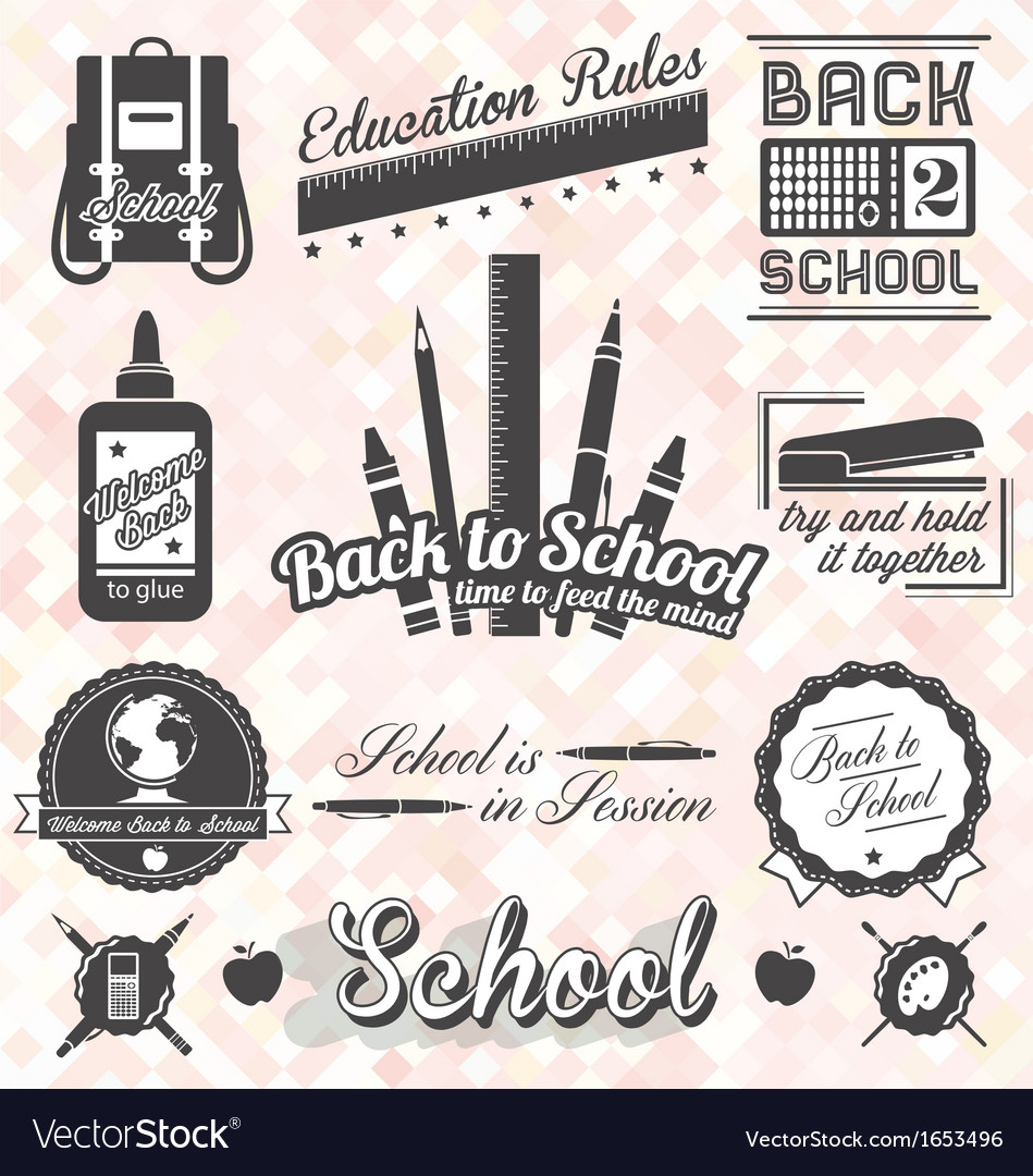 Back to school labels and icons vector | Price: 1 Credit (USD $1)