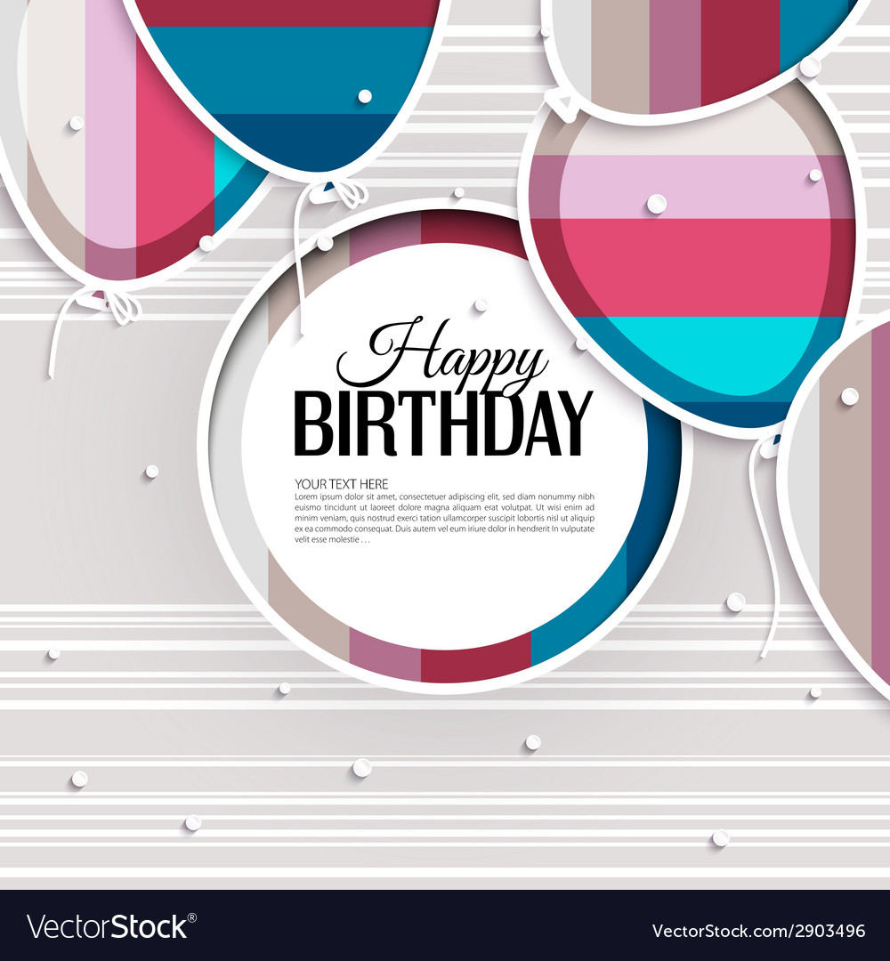 Birthday card with balloons and birthday text on vector | Price: 1 Credit (USD $1)