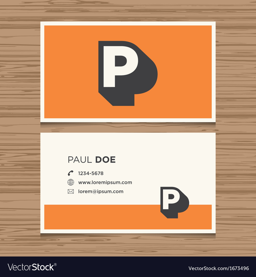 Business card letter p vector | Price: 1 Credit (USD $1)