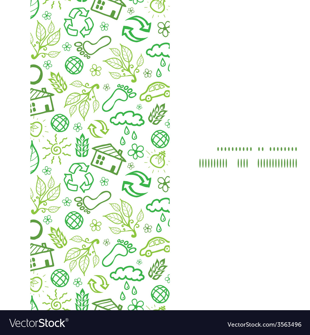 Ecology symbols vertical frame seamless pattern vector | Price: 1 Credit (USD $1)