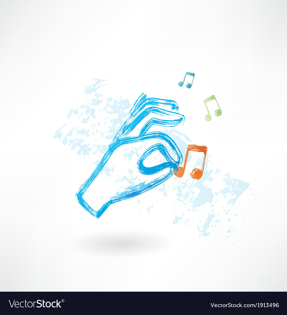 Hand music grunge icon vector | Price: 1 Credit (USD $1)