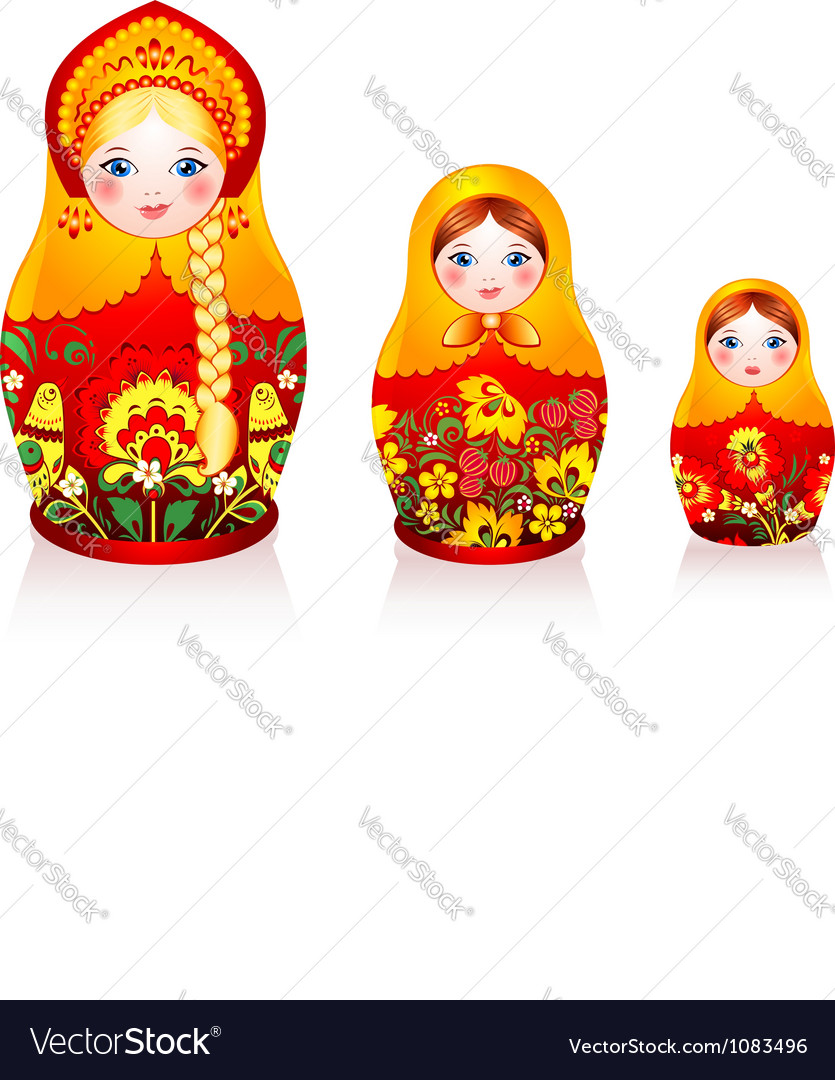 Russian tradition matryoshka dolls vector | Price: 1 Credit (USD $1)