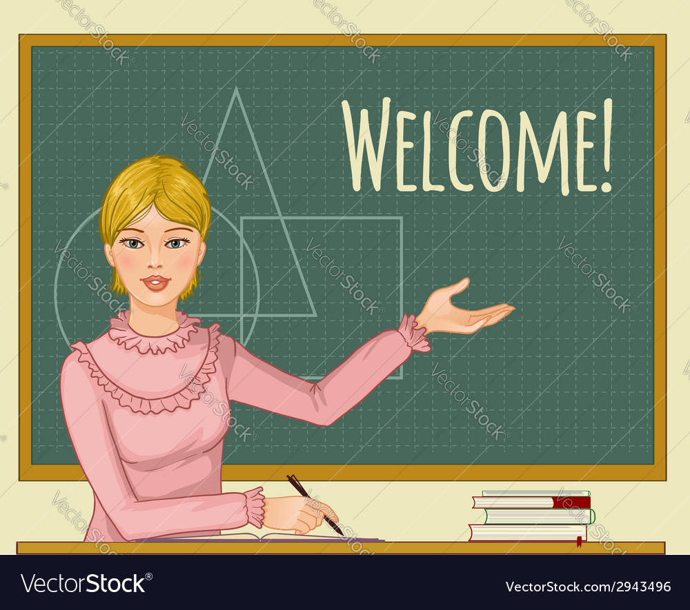 Teacher at blackboard vector | Price: 1 Credit (USD $1)