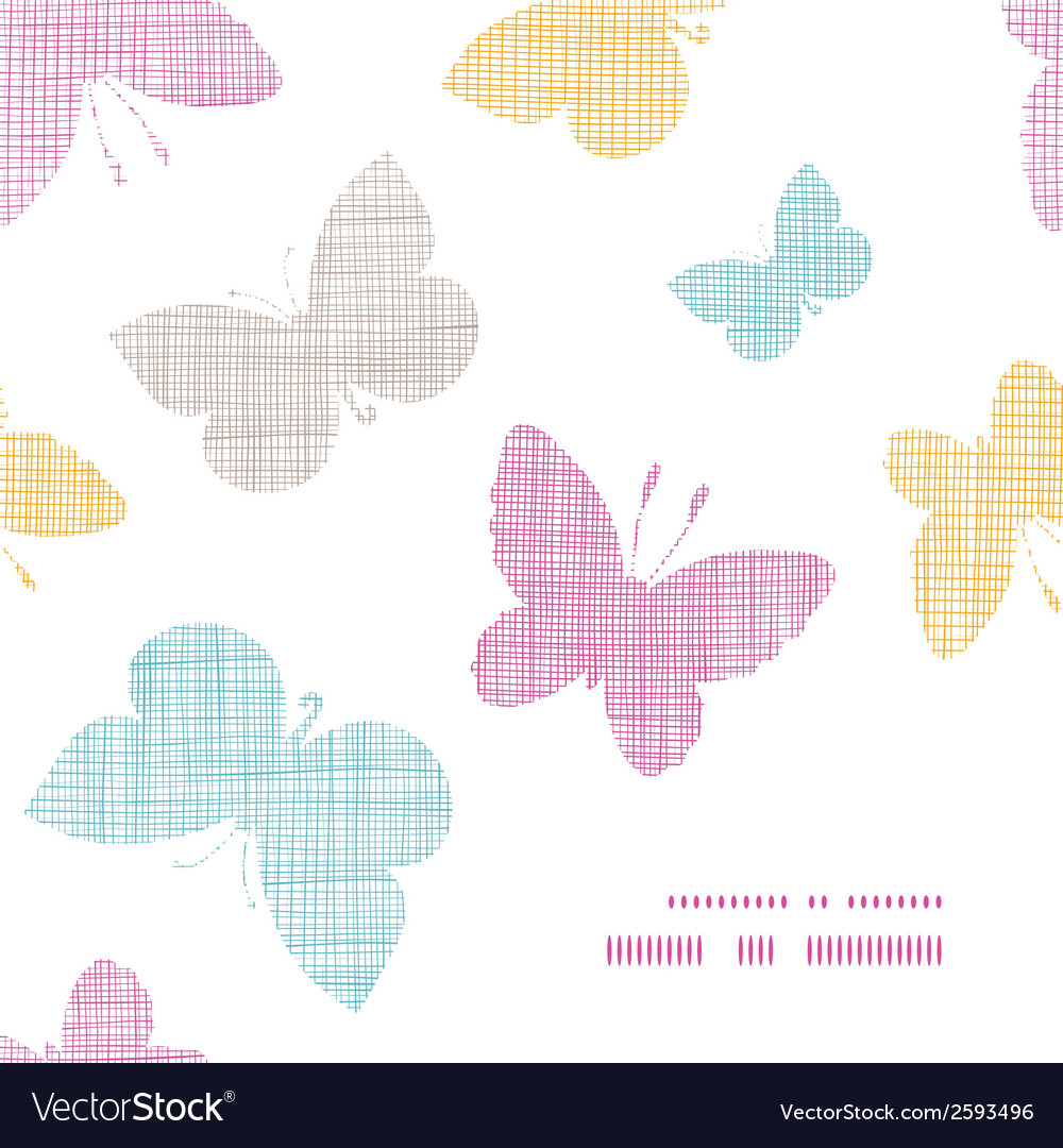 Textile textured colorful butterflies frame corner vector | Price: 1 Credit (USD $1)
