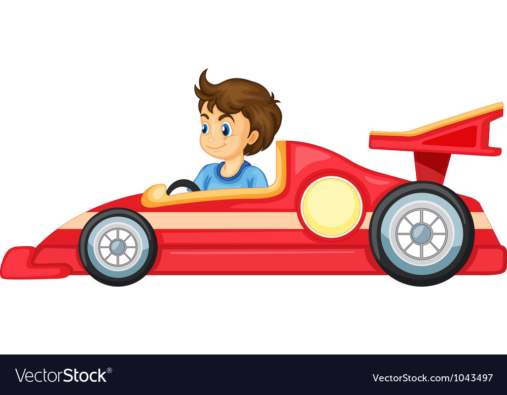 A boy driving a car vector | Price: 1 Credit (USD $1)