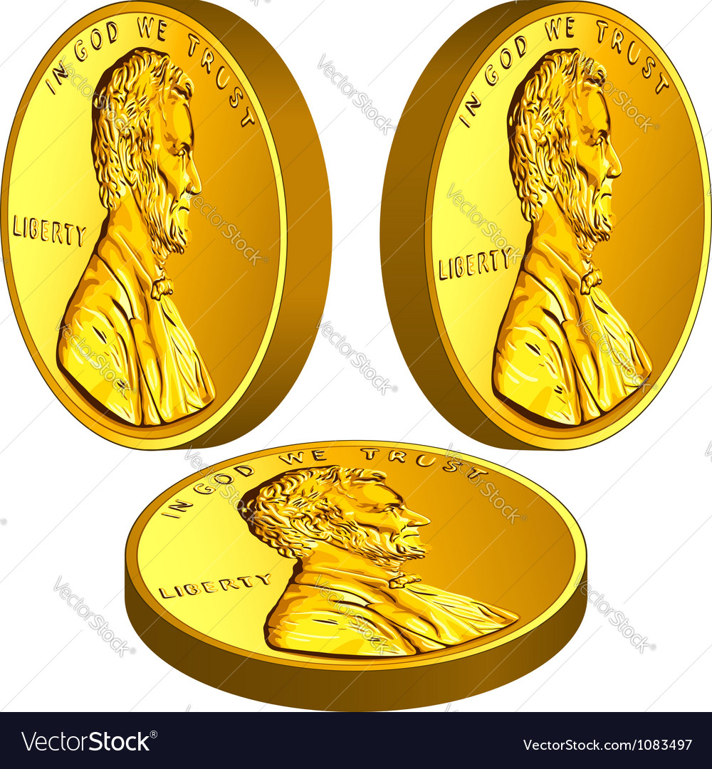 American gold money one cent coin with lincoln vector | Price: 1 Credit (USD $1)