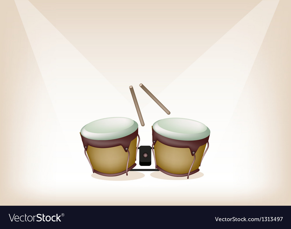 Beautiful bongo on brown stage background vector | Price: 1 Credit (USD $1)