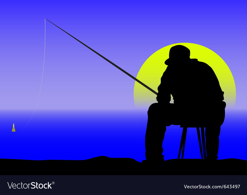 Fishing at dawn vector | Price: 1 Credit (USD $1)