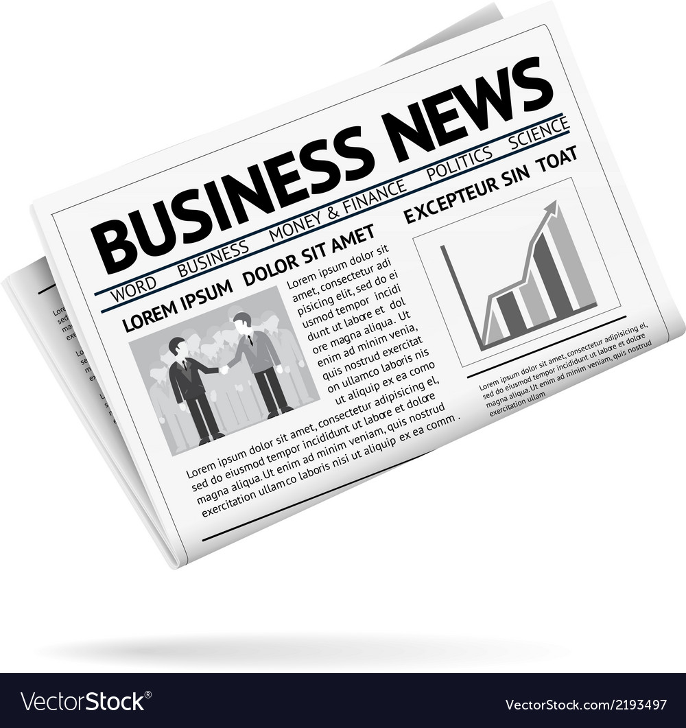 Folded newspaper presenting business news vector | Price: 1 Credit (USD $1)