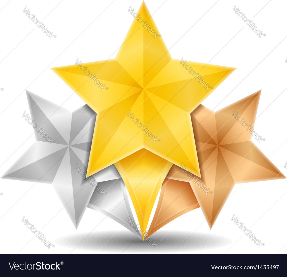 Golden silver and bronze stars vector | Price: 1 Credit (USD $1)