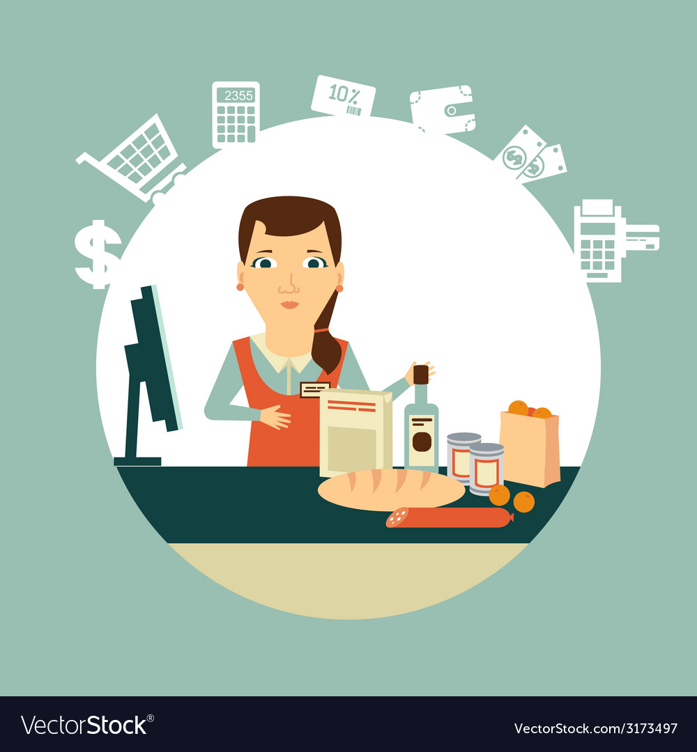Grocery store cashier at work vector | Price: 1 Credit (USD $1)