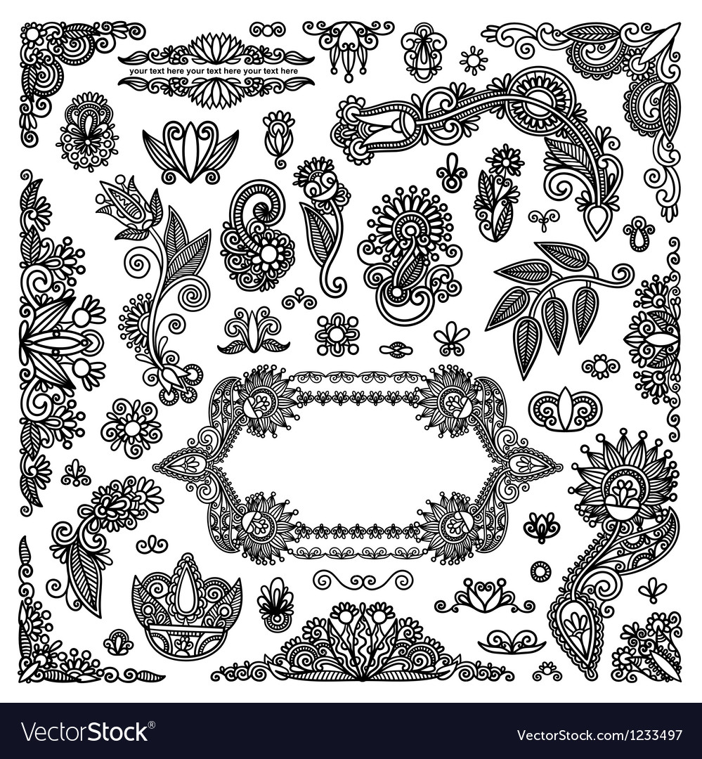 Hand draw black flowers and frames elements vector | Price: 1 Credit (USD $1)