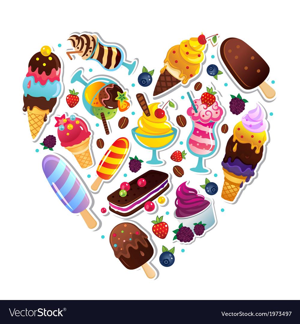 Ice cream heart vector   Price: 1 Credit (USD $1)
