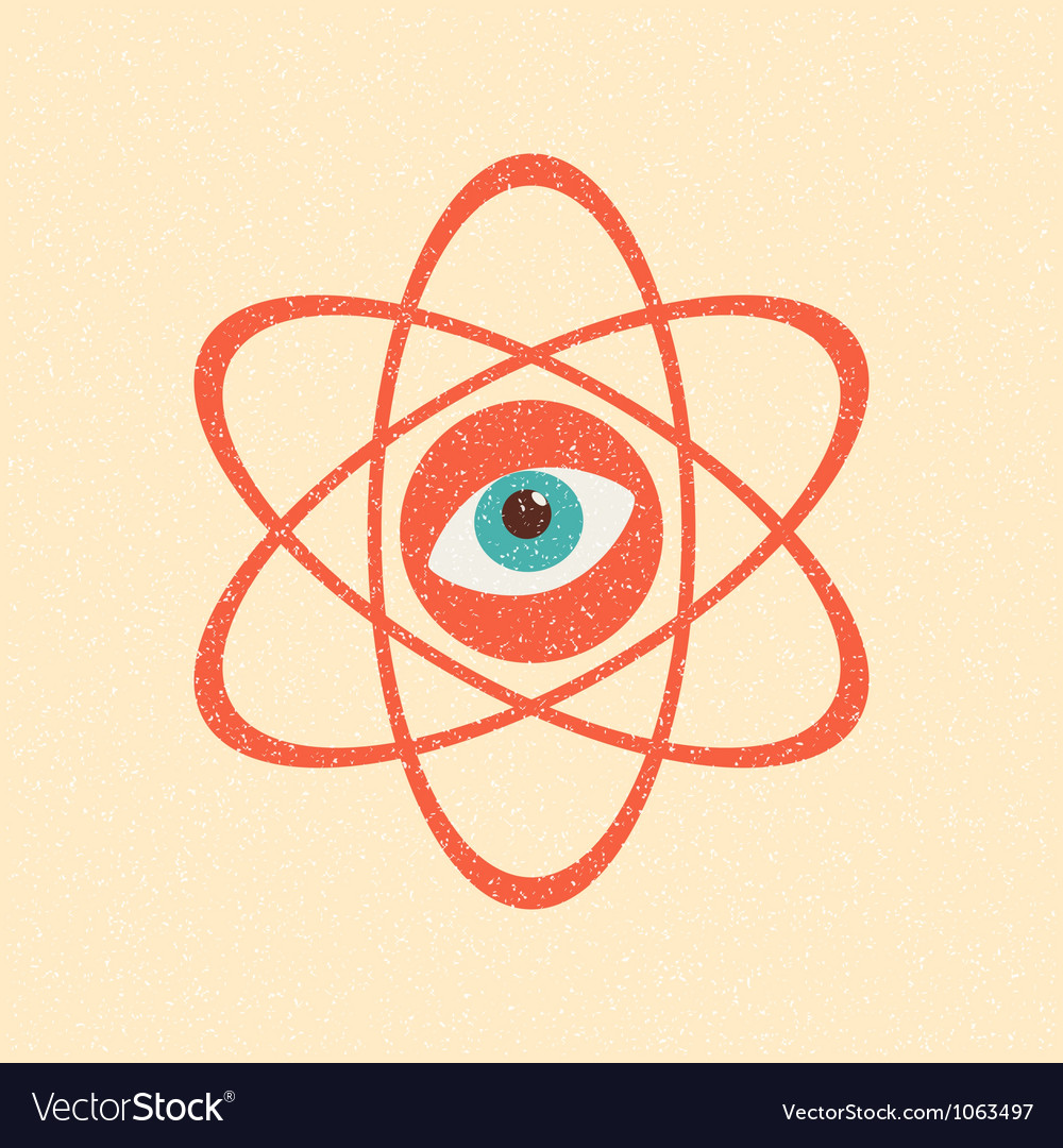 The model of a molecule atom retro poster vector | Price: 1 Credit (USD $1)