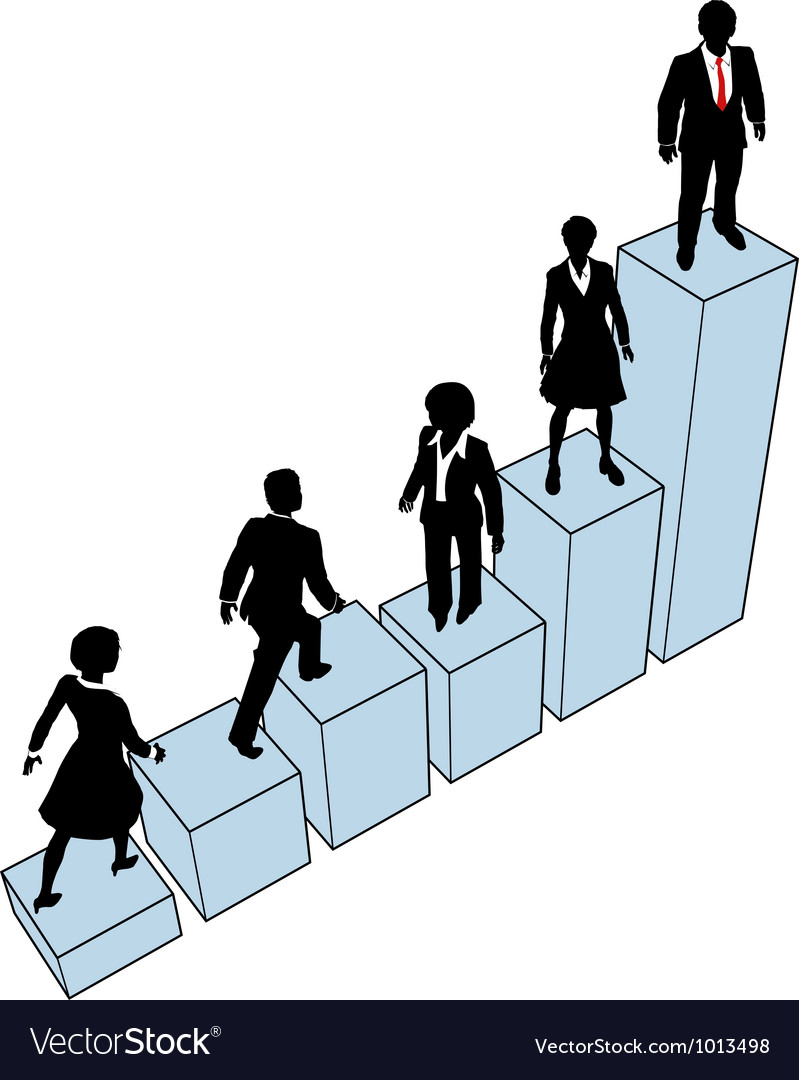 Business people climb stand on chart vector | Price: 1 Credit (USD $1)