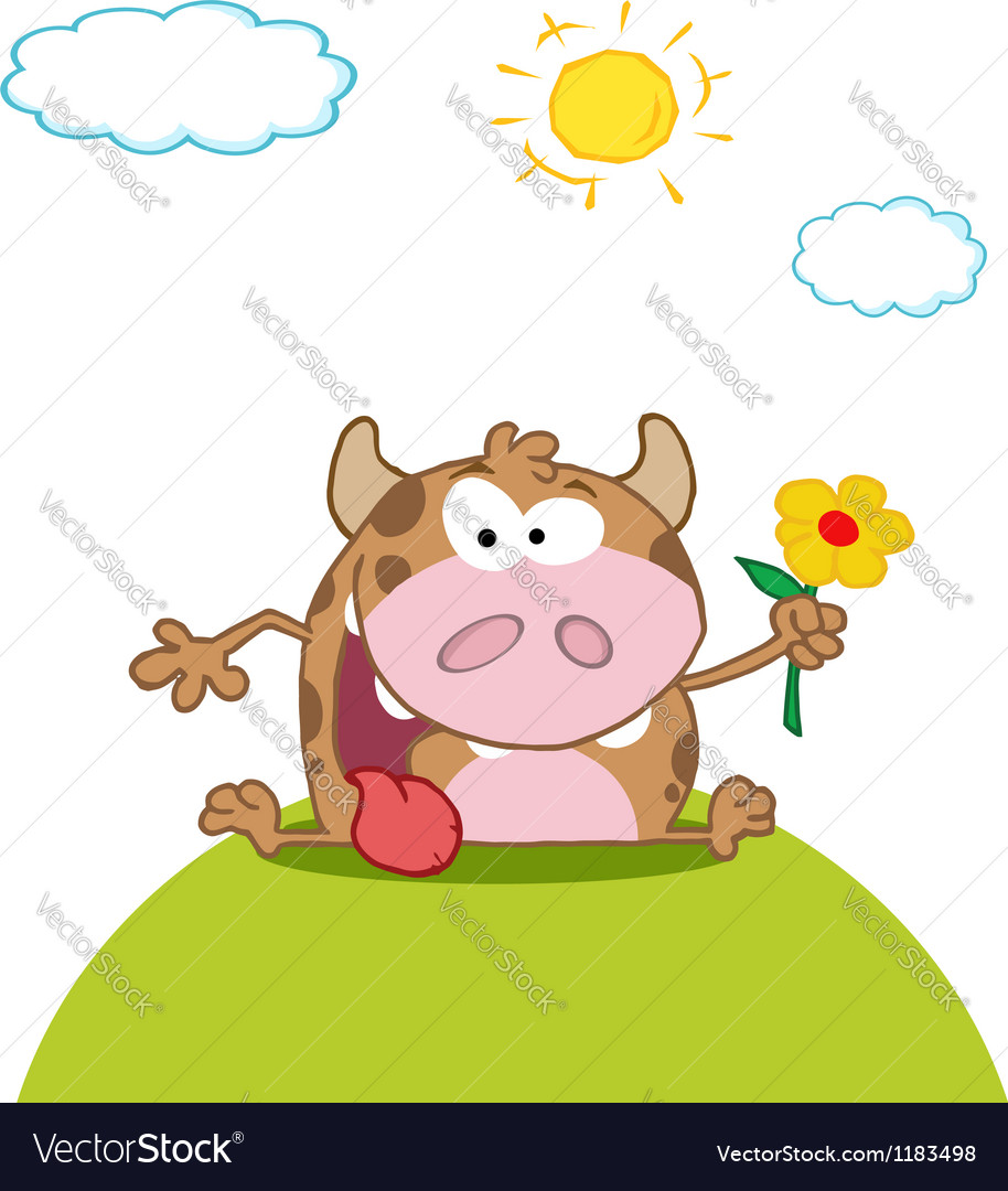 Calf cartoon character with flower vector | Price: 3 Credit (USD $3)