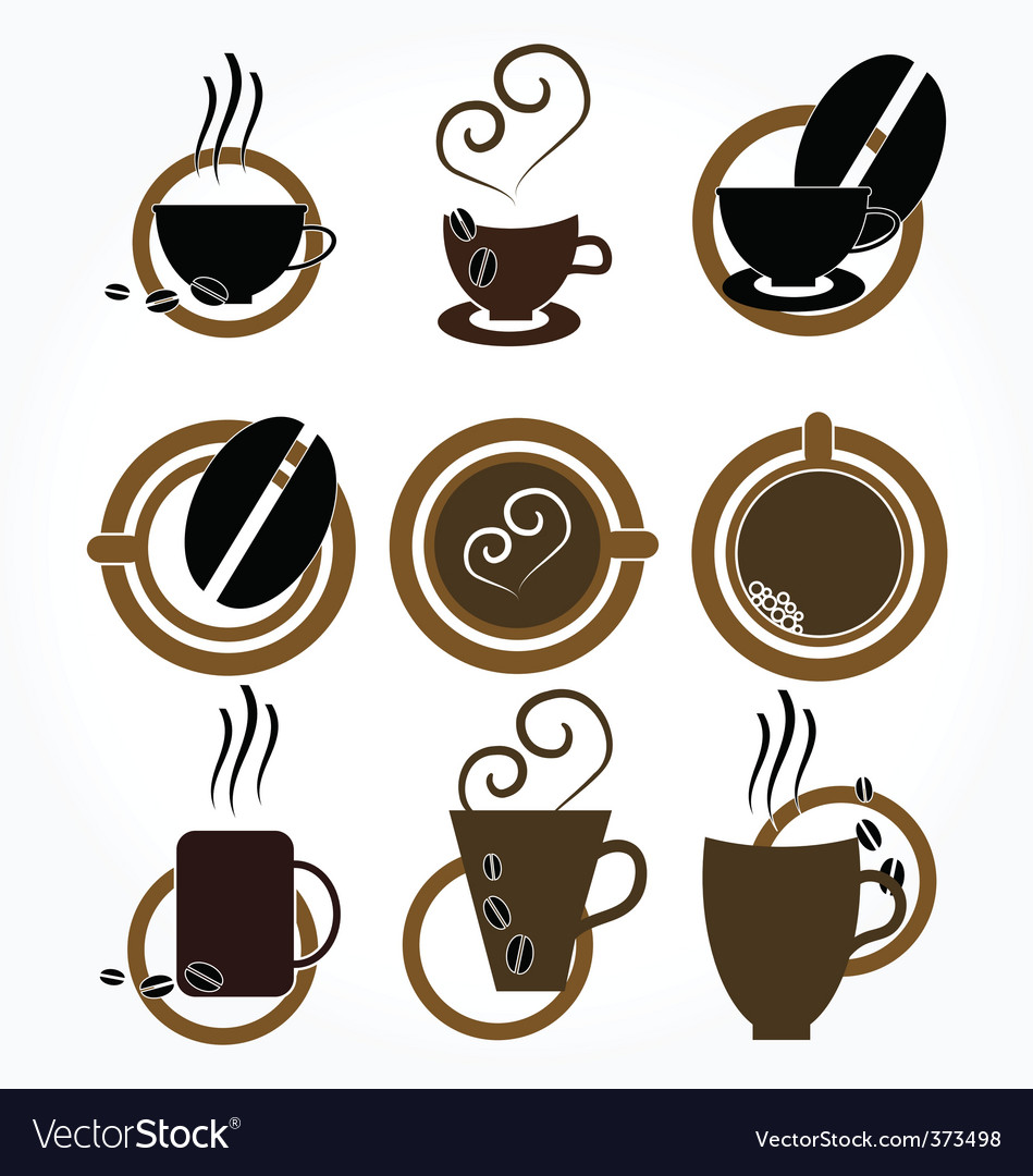 Cup of coffee set vector | Price: 1 Credit (USD $1)