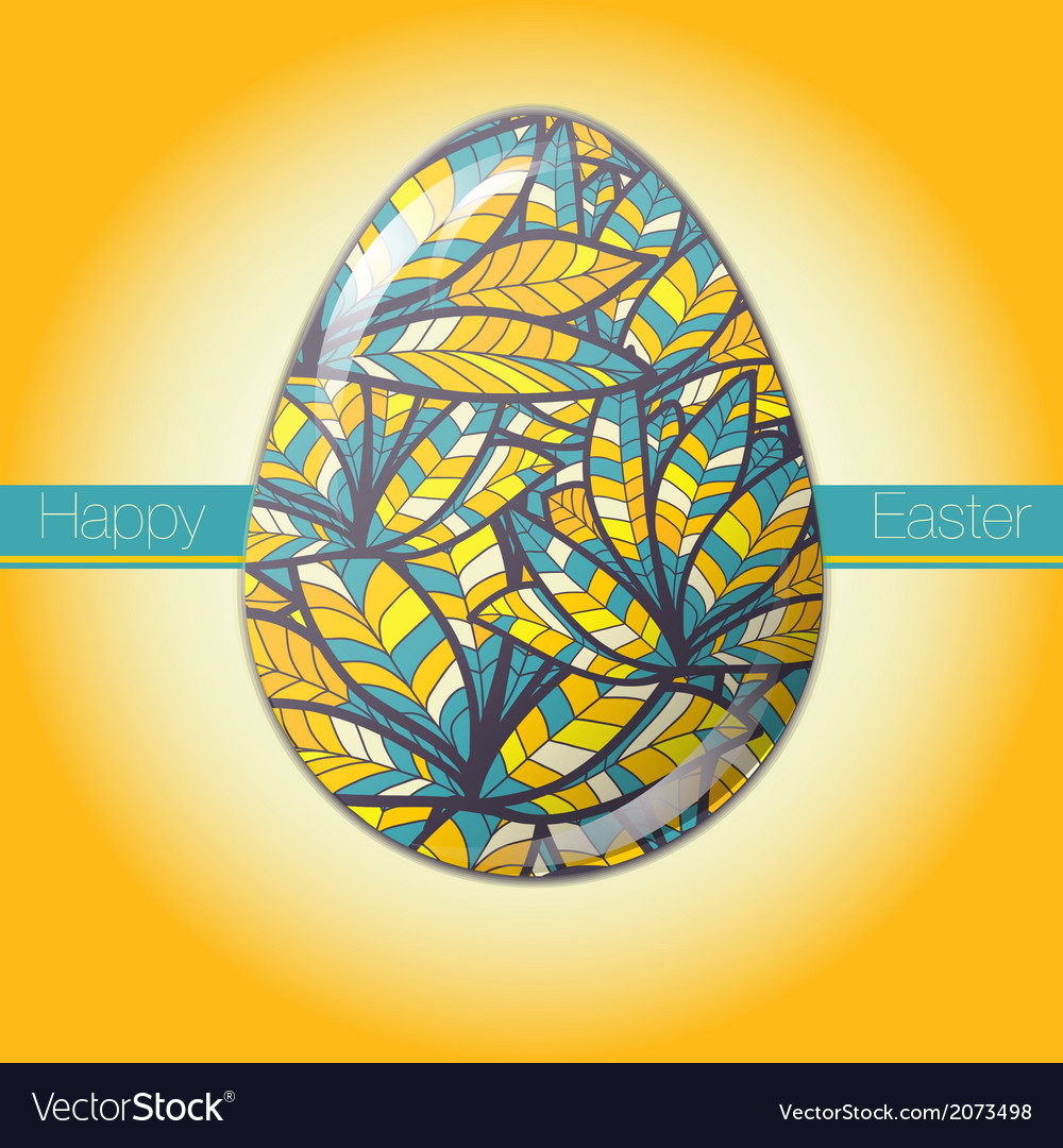 Easter egg greeting card drawn feather ornament vector | Price: 1 Credit (USD $1)