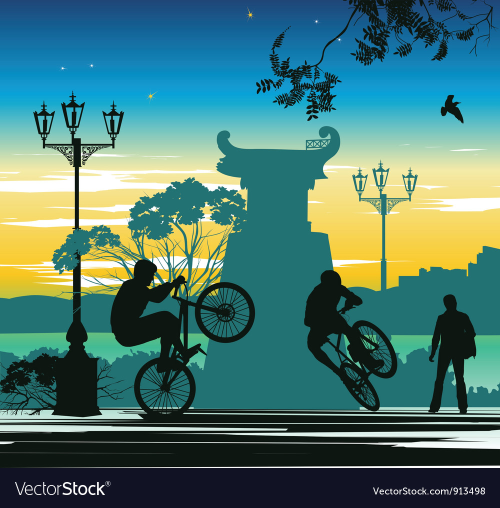 Evening cyclist vector | Price: 1 Credit (USD $1)