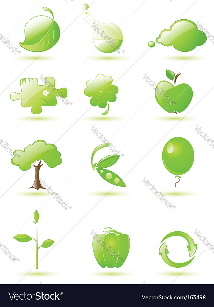 Green icon set vector | Price: 1 Credit (USD $1)