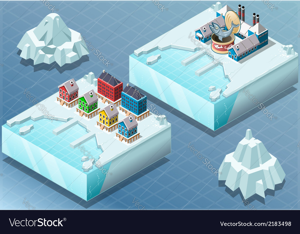 Isometric arctic town and fish canning factory vector | Price: 1 Credit (USD $1)