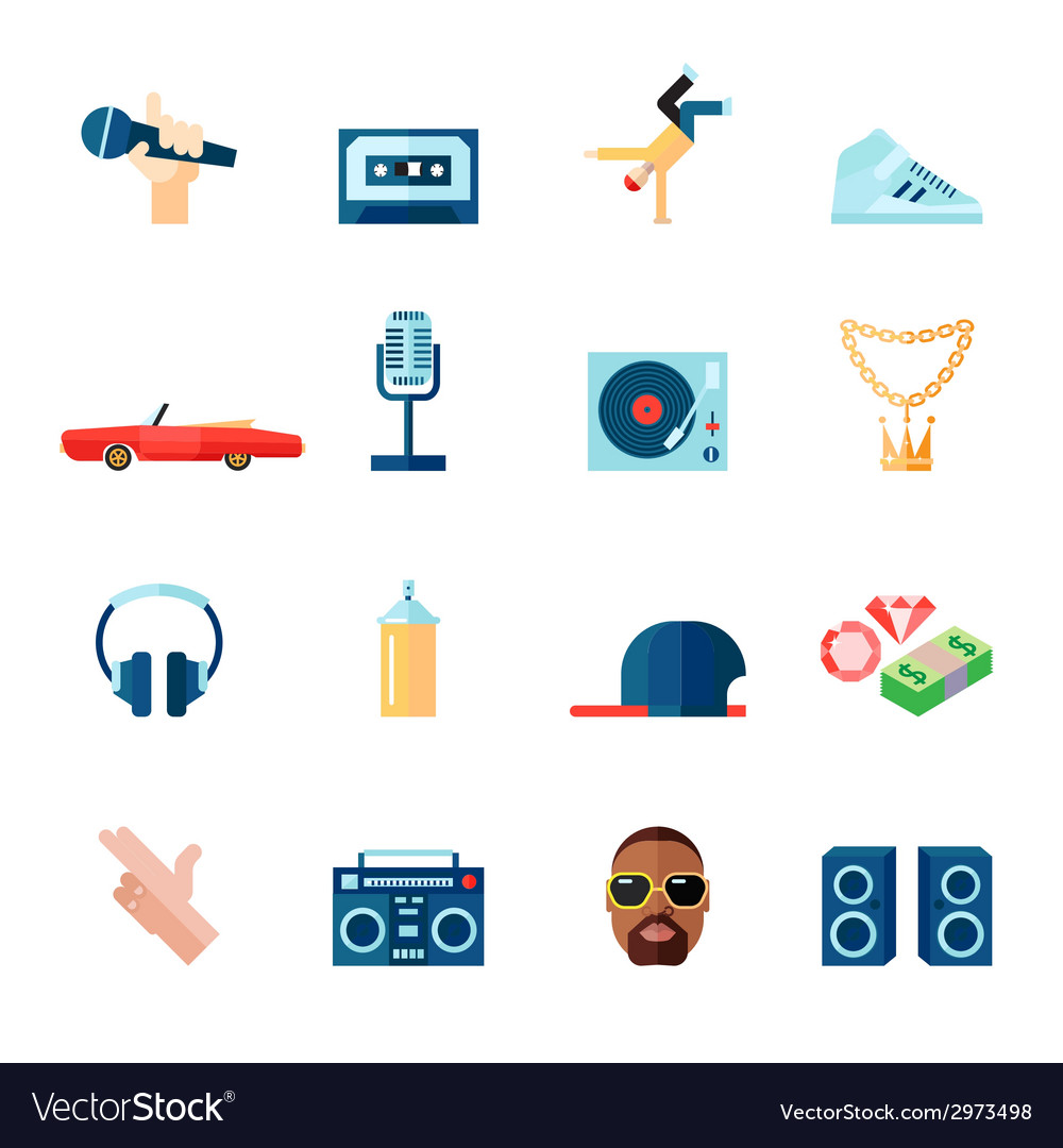 Rap music icons set flat vector | Price: 1 Credit (USD $1)