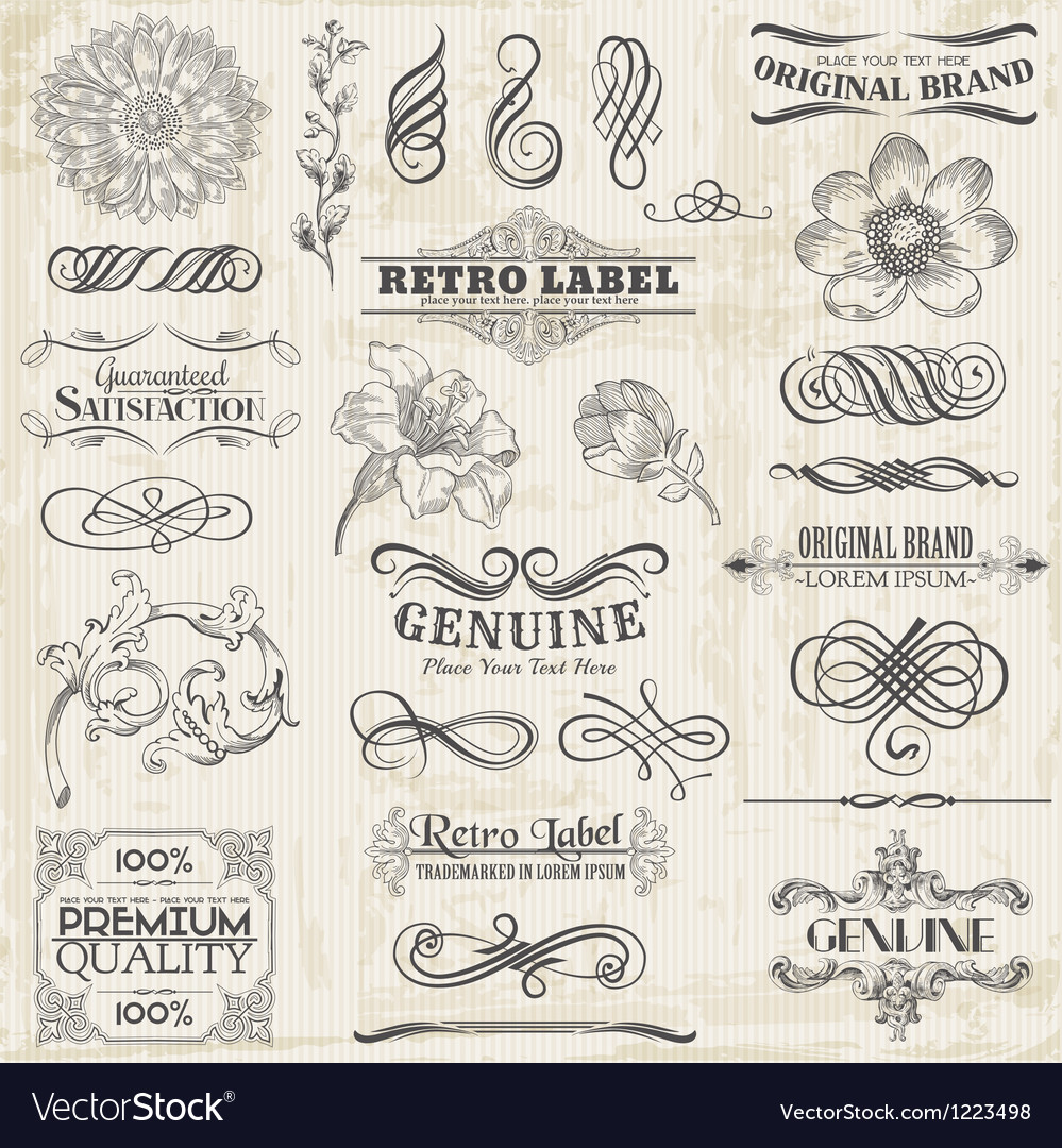 Set calligraphic design elements vector | Price: 1 Credit (USD $1)