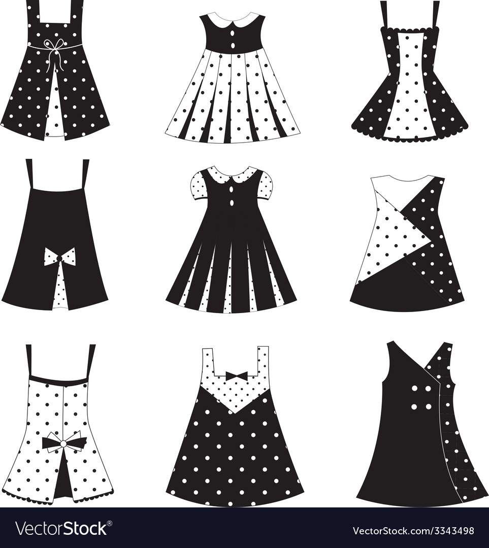 Set of kid girl dress icons vector | Price: 1 Credit (USD $1)