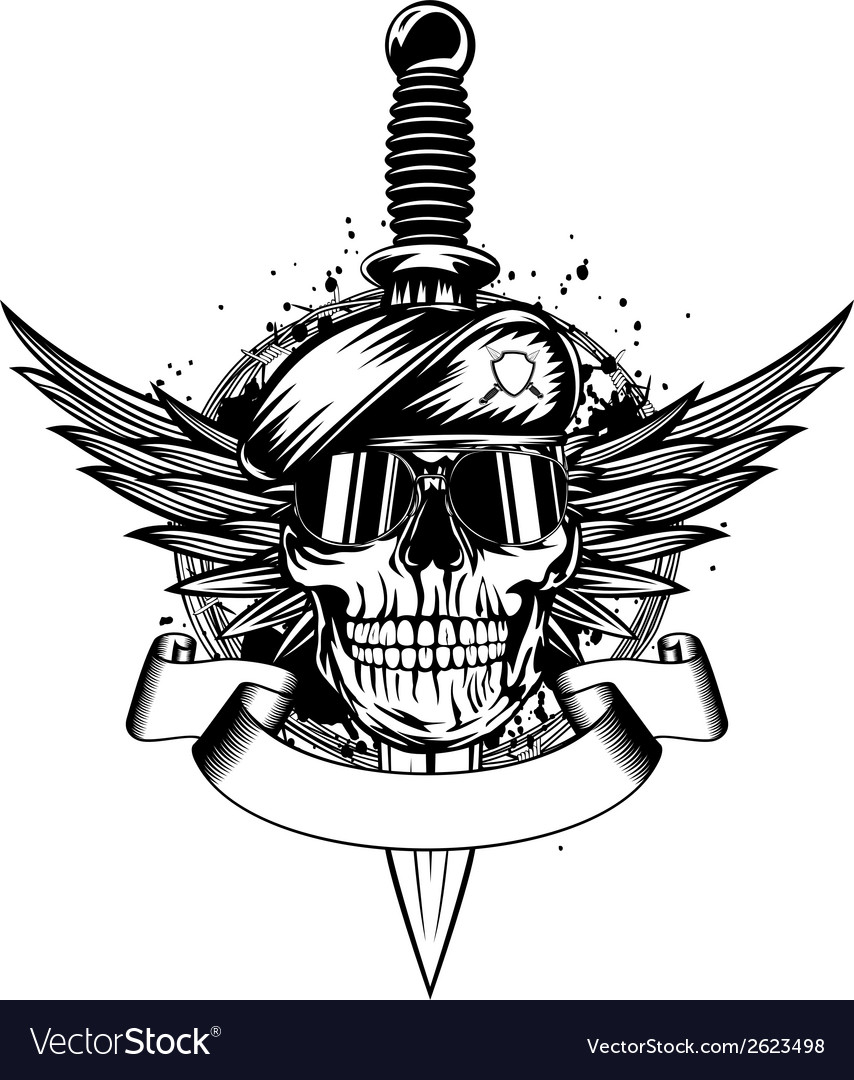 Skull in beret wings and dagger vector | Price: 1 Credit (USD $1)