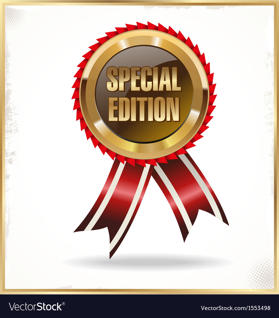 Special edition label with ribbons vector | Price: 1 Credit (USD $1)