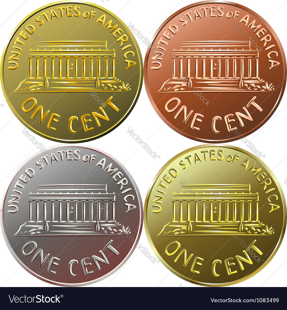 American gold money one cent coin vector | Price: 1 Credit (USD $1)