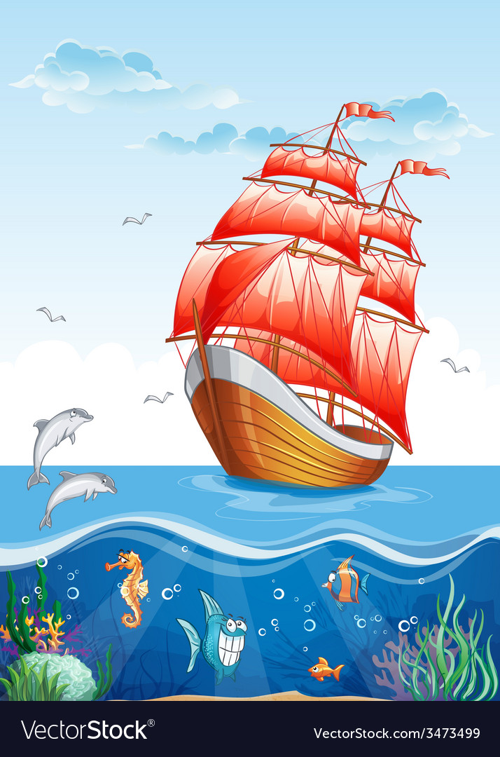 Childrens of a sailboat with red sails and the vector | Price: 5 Credit (USD $5)