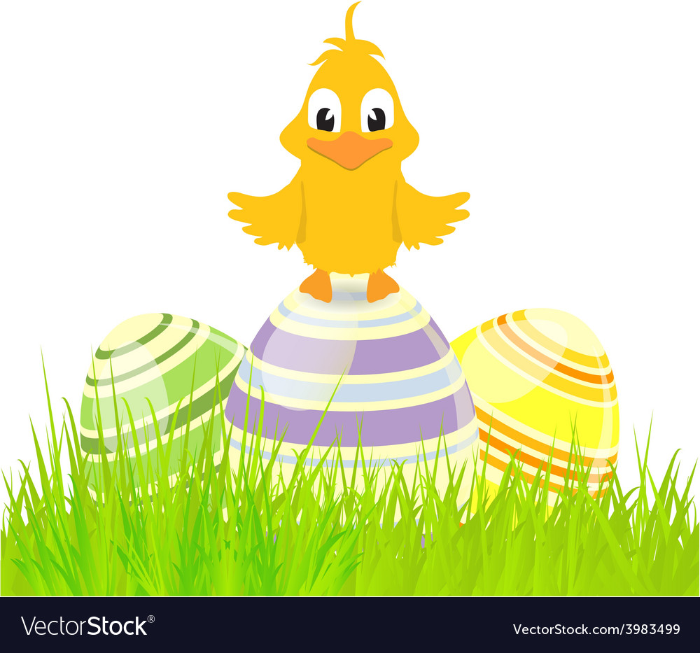 Eggs and chick on grass vector | Price: 1 Credit (USD $1)