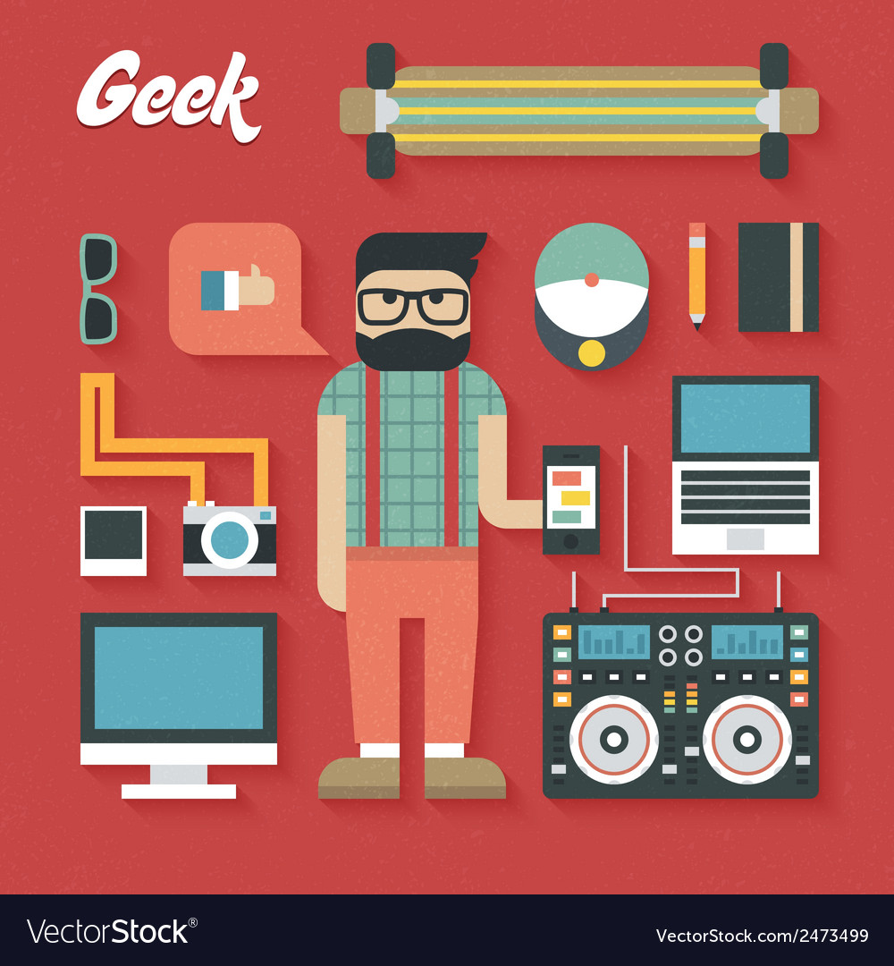 Flat icons set of trendy geek vector | Price: 1 Credit (USD $1)