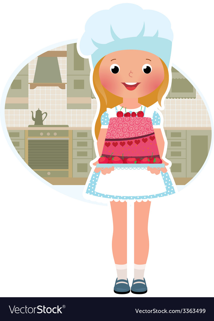 Girl cook with cake vector | Price: 1 Credit (USD $1)