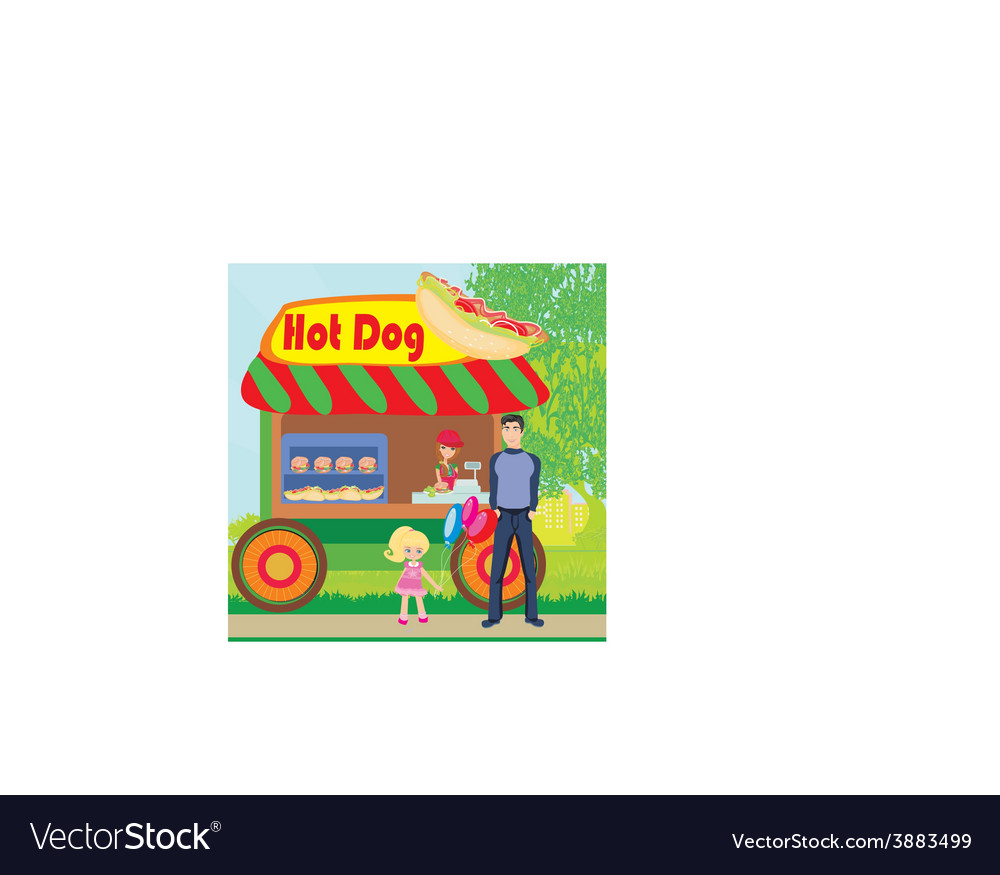 Hot dog booth stand in the city vector | Price: 1 Credit (USD $1)