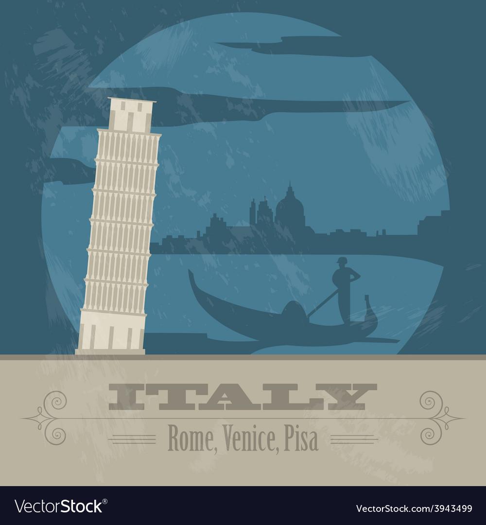 Italian republic landmarks retro styled image vector | Price: 1 Credit (USD $1)