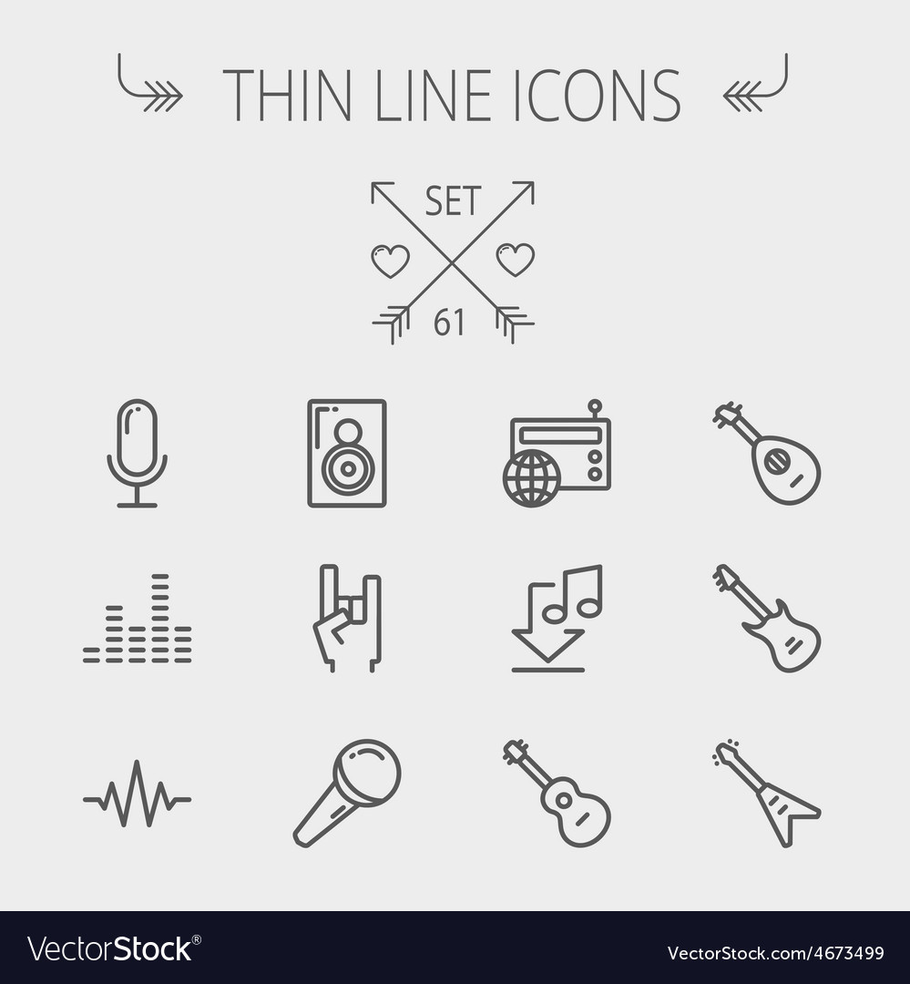 Music and entertainment thin line icon set vector | Price: 1 Credit (USD $1)