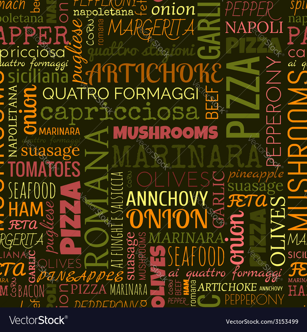 Pizza words tags seamless pattern vector | Price: 1 Credit (USD $1)