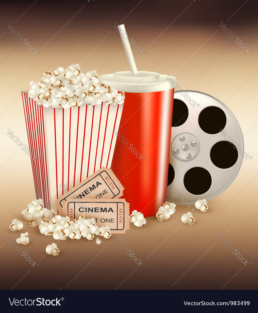 Popcorn box and cola and two tickets vector | Price: 3 Credit (USD $3)