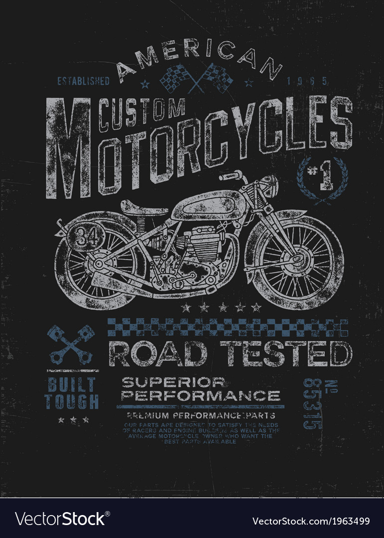 Vintage motorcycle t-shirt graphic vector | Price: 1 Credit (USD $1)