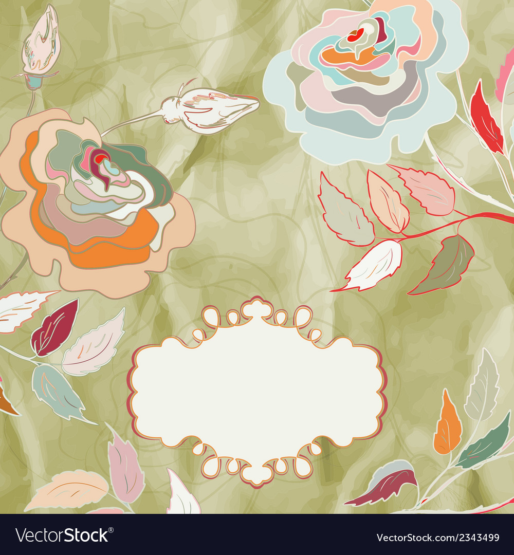 Vintage rose floral card not auto-traced eps 8 vector   Price: 1 Credit (USD $1)