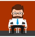 Lucky businessman is sitting on two chairs vector