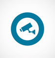 Security camera bold blue border circle icon vector